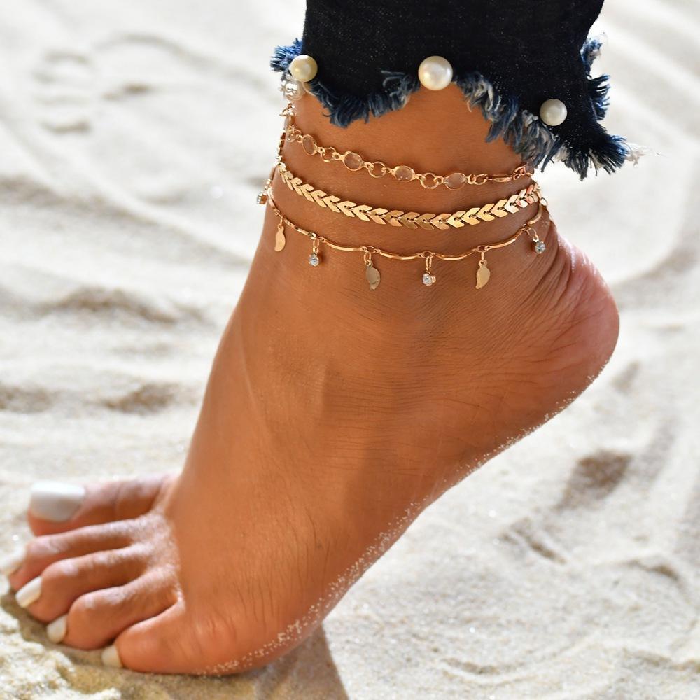 Yaz sıcak plaj halhal zincir bayan takı balık kılçığı tam elmas zincir el yapımı yaprak plaj zincir üreticisi