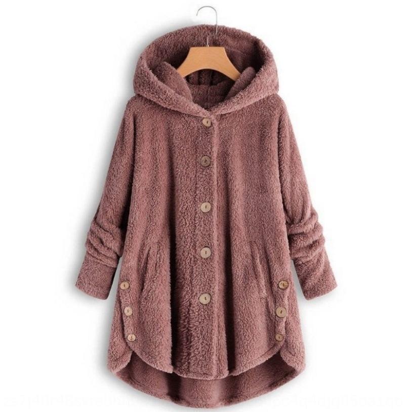 gZU0k 2019 Inverno de impressão cor sólida botão leopardo das mulheres casaco com capuz Botão exterior terno casaco casuais