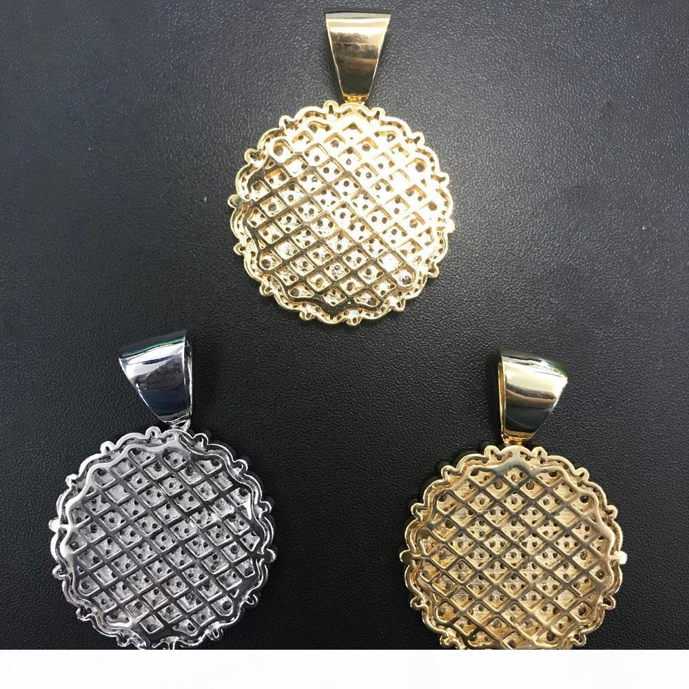 Y en gros Micro Pavée Zircon ronde médaillon pendentif Collier Hip Hop Cuivre Bijoux pour Hommes Femmes