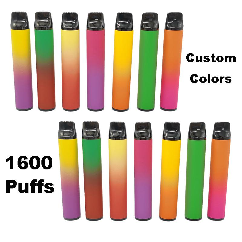 최신 1600puffs 일회용 Vape 펜 장치 포드 스타터 키트 1000mAh의 배터리을 6.5ml 카트리지 전자 담배 포장 기화기 사용자 정의 비우기