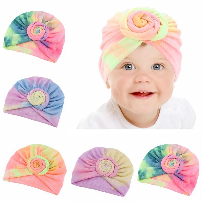 아기 터번 모자 그라데이션 유아 매듭 탄성 여자 머리띠 터번 키즈 헤드 랩 아기 모자 헤어 액세서리 HHA1440 캡