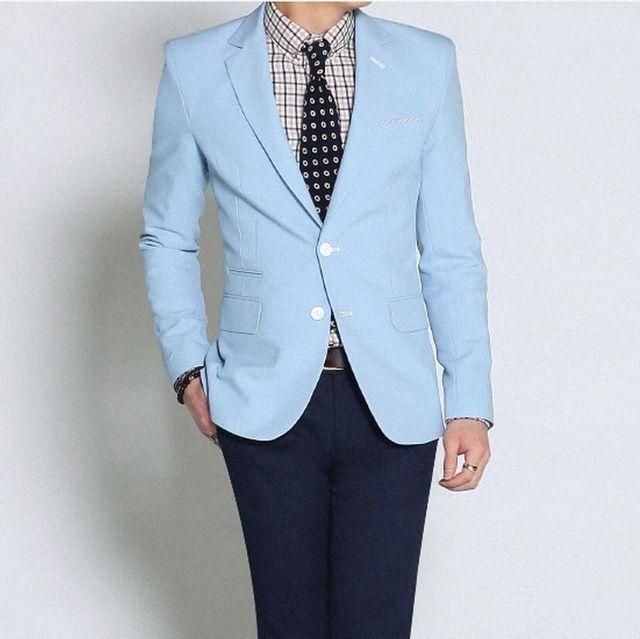 Alta qualidade de luz azul de noiva sob encomenda dos homens lazer paletó ocasiões formais melhor forma homem terno dois grãos de botões uAvz #