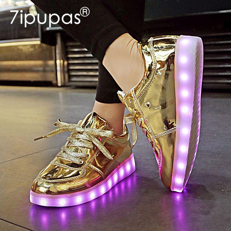 7ipupas New Homme baskets garçons filles lumineux Chaussures Lumineuse 11 couleurs d'or Led Chaussures enfants Glowing Casual unisexe 30-44 CX200724