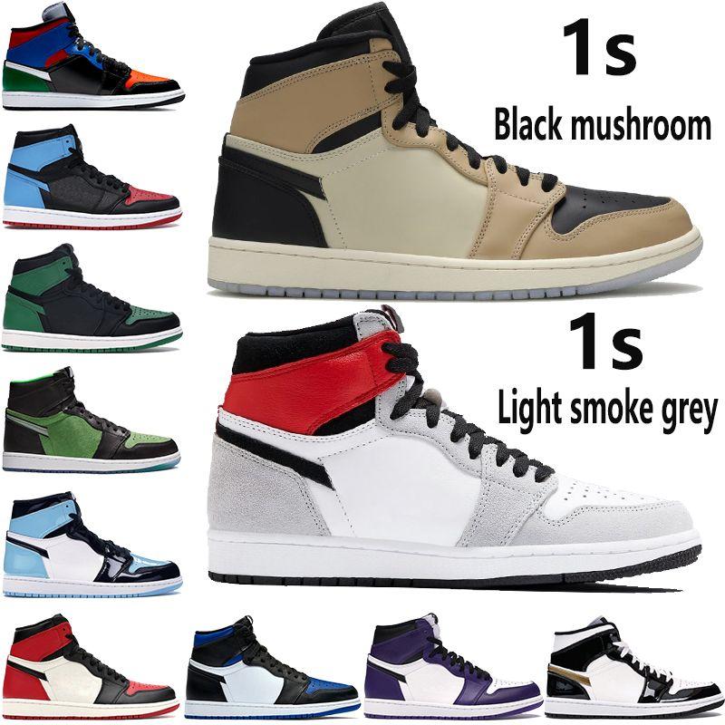 1 high 1s jumpman basketball shoes men women black mushroom light smoke grey Royal Toe NC to Chi leather UNC Patent sport sneakers