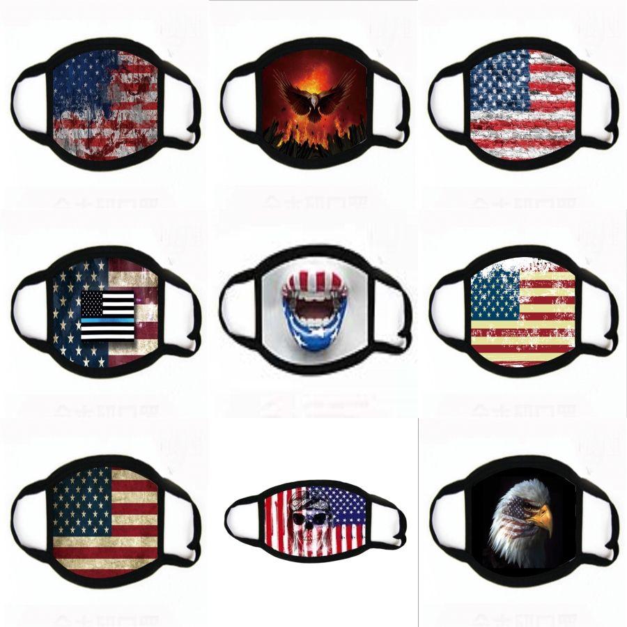 USA-Flagge Bedruckte Krawatten-Maske Zähne Mund Er Behandlung Outdoor Schutzgesichtsstaubdichtes Erwachsene Maske mit Filter Taschen FFA4231 # 541