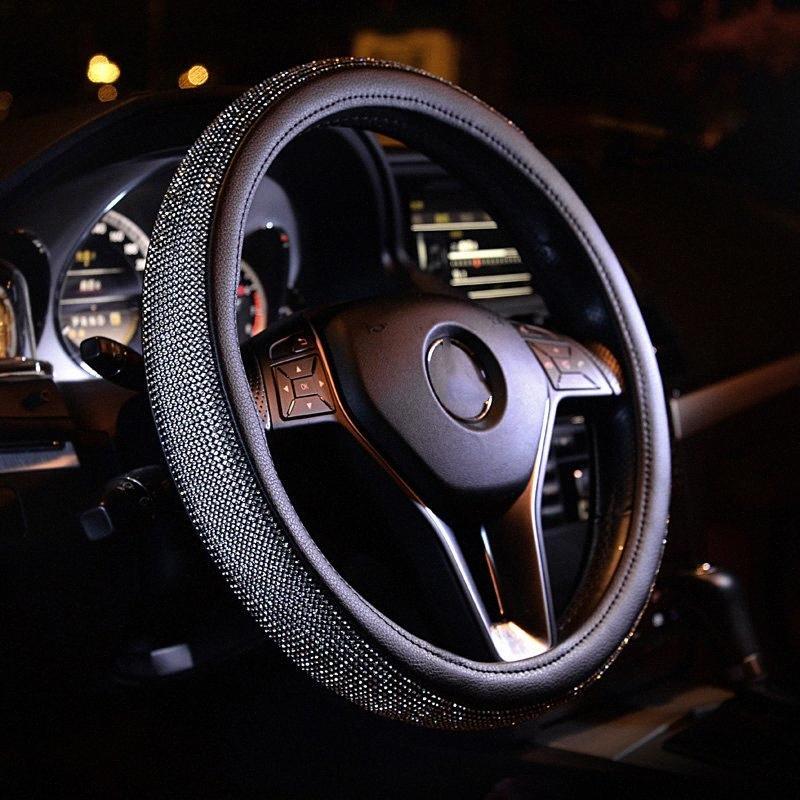 Универсальные крышки рулевого колеса Ручка Rhinestone Алмазного Кожаные Рулевые Covers Мода для женщин девушки автомобили Стайлинг Аксессуары 13Nz #
