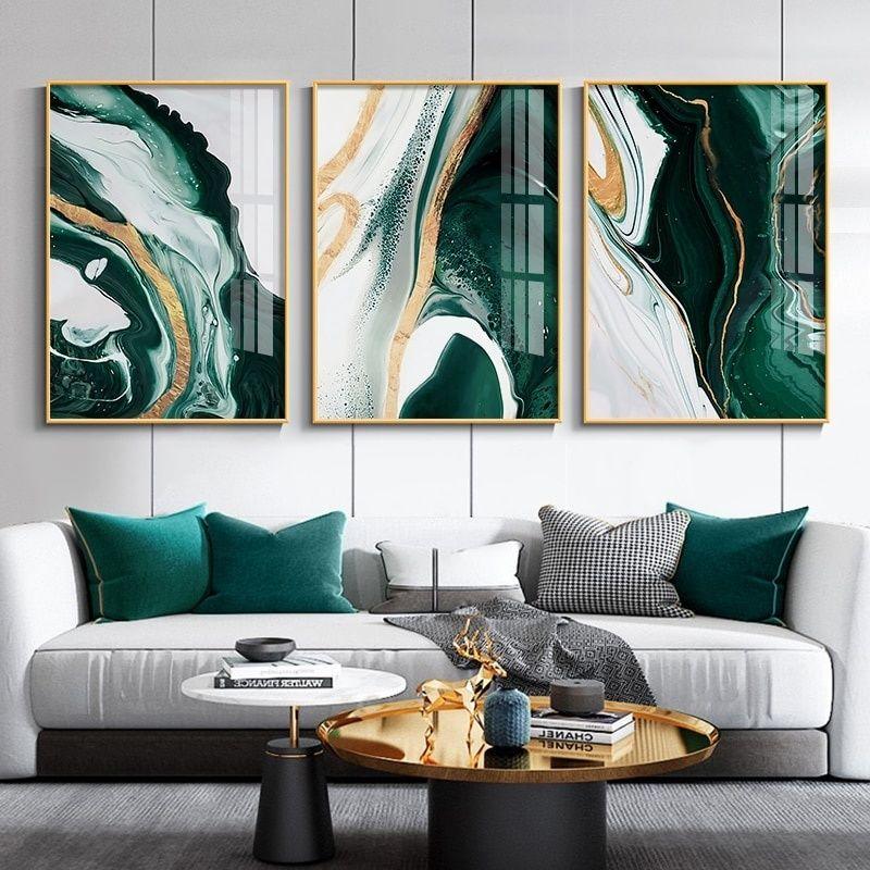 Salon Modern Ev Dekorasyon Wall Art Akik zümrüt Poster Baskılar Nordic Duvar Resimleri Boyama 3 Paneller Moda Özet Yağı