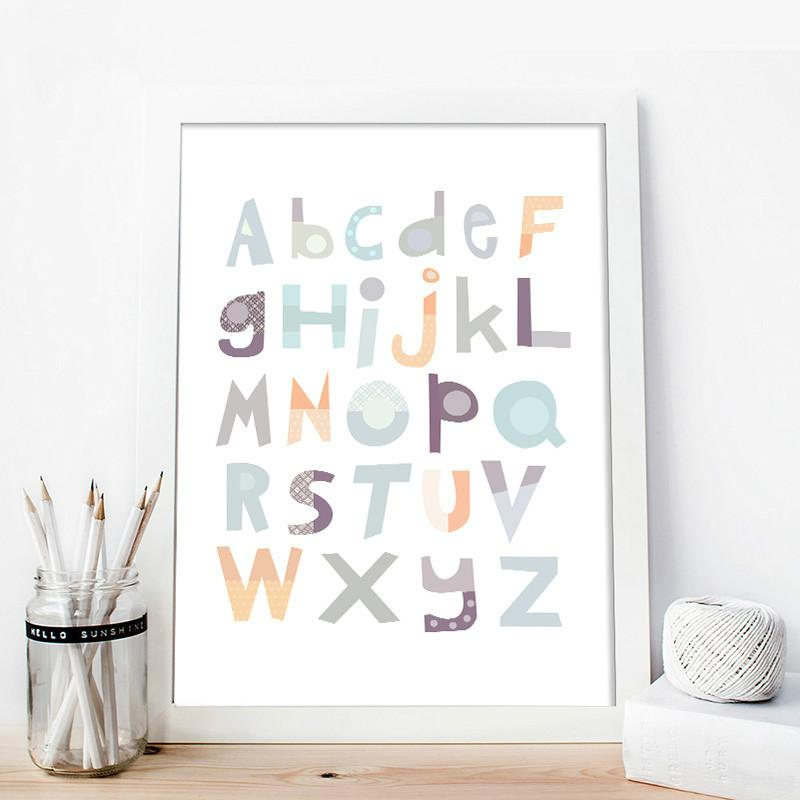 A to Z Alphabet Baby Nursery Wall Art Canvas Painting Educational ABC Posters and Prints Nordic Kids Decoration Pictures