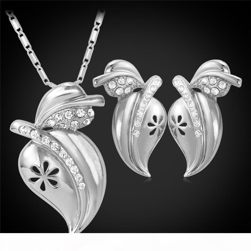 Горный хрусталь Яркие Персик кулон ожерелье Стада серьга для женщин 18K Real позолоченных Симпатичного комплекта ювелирных изделий