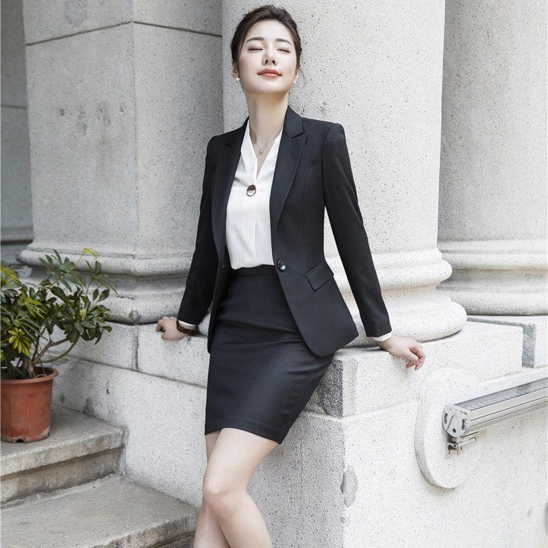 Высокое качество ткани Осень Зима Формальное форменные Стили Женские деловые костюмы с Tops и юбка дамы Офис блейзеры Наборы