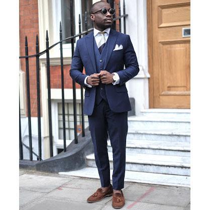 Navy Blue Mens Casual Suit 3 Piece Tailored Slim Fit Blazer Pants Vest for Men Handsome Men's Clothes Set Groom Wedding Tuxedo