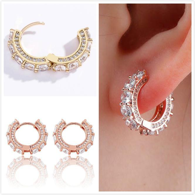Fine Quality 18K Gold Plated BlingBling Cubic Zirconia Huggie Hoop Earring Mens Hip Hop Earrings Iced Out Diamond Jewelry for Women and Men