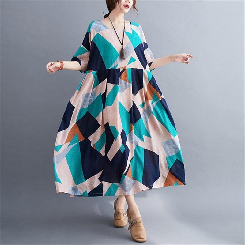 Çin cheongsam 2020 yaz yeni gevşek ince bir retro şişman MM gelinlik baskı artı boyutu seksi elbise kadın kimono elbise qipao