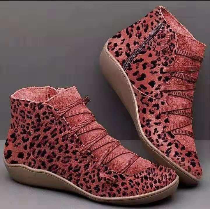 yuvarlak kafa leopar ile botları bayan büyük beden bayan botları düz dipli yan fermuar yazdırmak