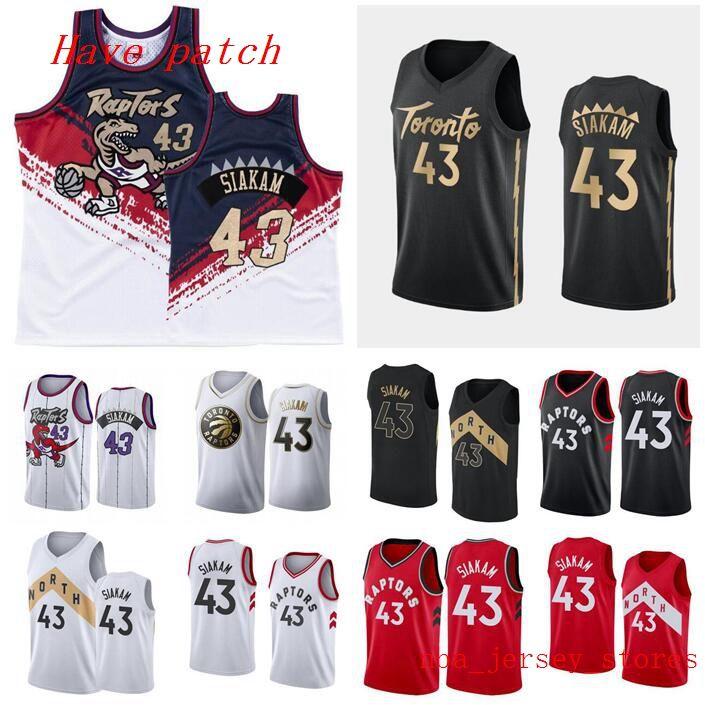 Erkekler basketbol TorontoRaptors43 PascalSiakam / beyaz, kırmızı ve siyah yeni şehir swingman kolsuz Jersey ve pantolon 01
