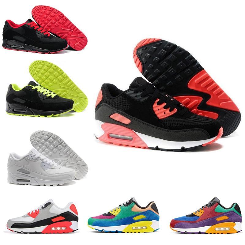 Nuovi di stile uomini delle scarpe da tennis Classic 90 Uomini e donne scarpe Sport Trainer Cuscino superficie traspirante calza il formato 36-45 in corso