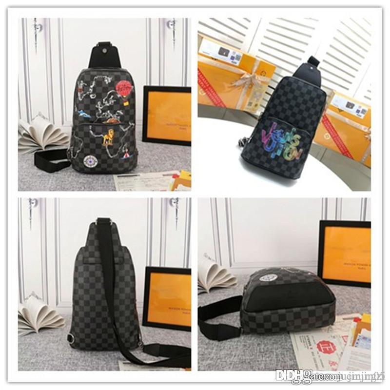 LoVuitto New Damier Graphite N41719 Avenue Sling eine Schulter Messenger Bag Größe: 20 x 31 x 10 cm