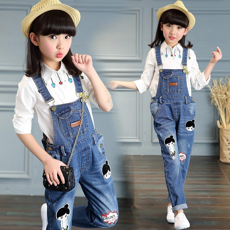 4quF6 Girls' Korean style autumn children's small feet jeans and jeans pants middle and large children's students' slim conjoined suspender