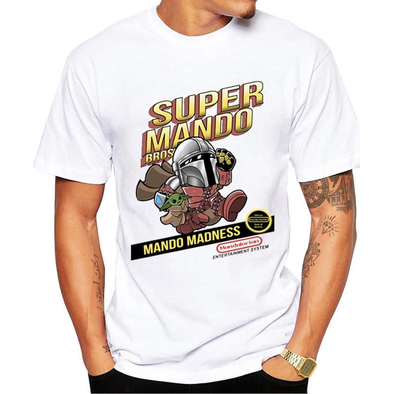 TEEHUB محب للأطفال الرجال تي شيرت مضحك SUPER-MANDO-BROS مطبوعة بلايز كم قصير O- الرقبة القمم كول