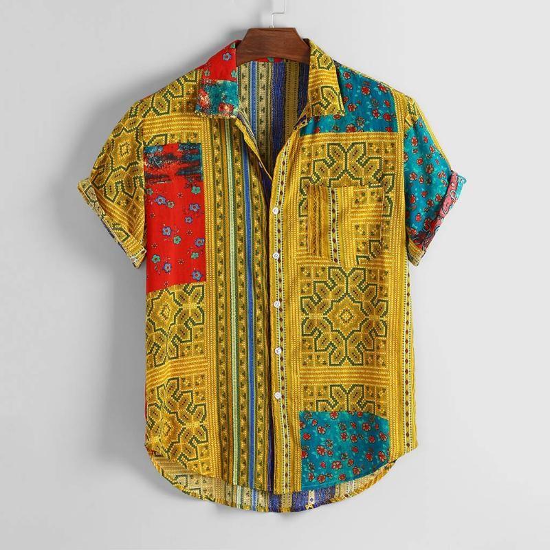 Mens Clothing Vintage Ethnic Printed Streetwear Turn Down Collar Pullover Short Sleeve Loose Shirts Camicia da uomo caldo