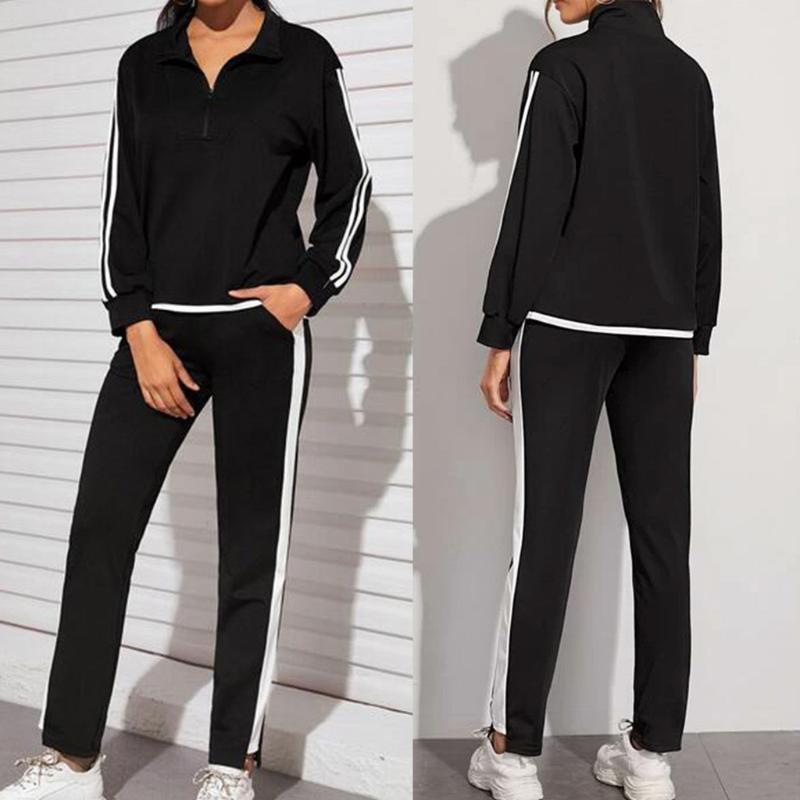 2020 Mode für Frauen Splice Zweiteiler Zipper Langarm-Top Tasche Sport-beiläufige Hosen stellten 2020 Frühling beiläufigen Sport Anzug