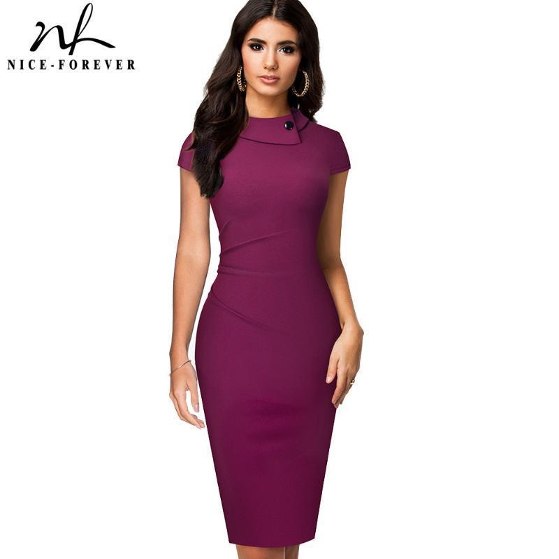 캐주얼 드레스 니스 영원히 빈티지 우아한 순수한 컬러 버튼 사무실 작업 Vestidos 비즈니스 공식 바디 콘 여성 연필 드레스 B574