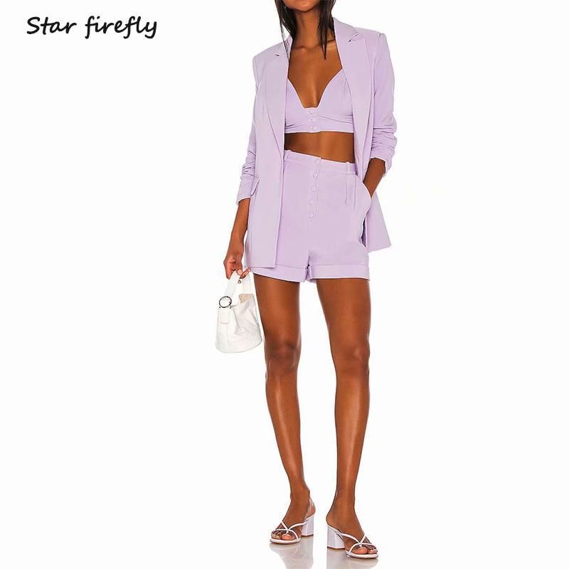 Étoile luciole grande taille costume professionnel women2019 automne occasionnel solide à long blazer + haut tube sangle costume costume shorts taille + haut T200722
