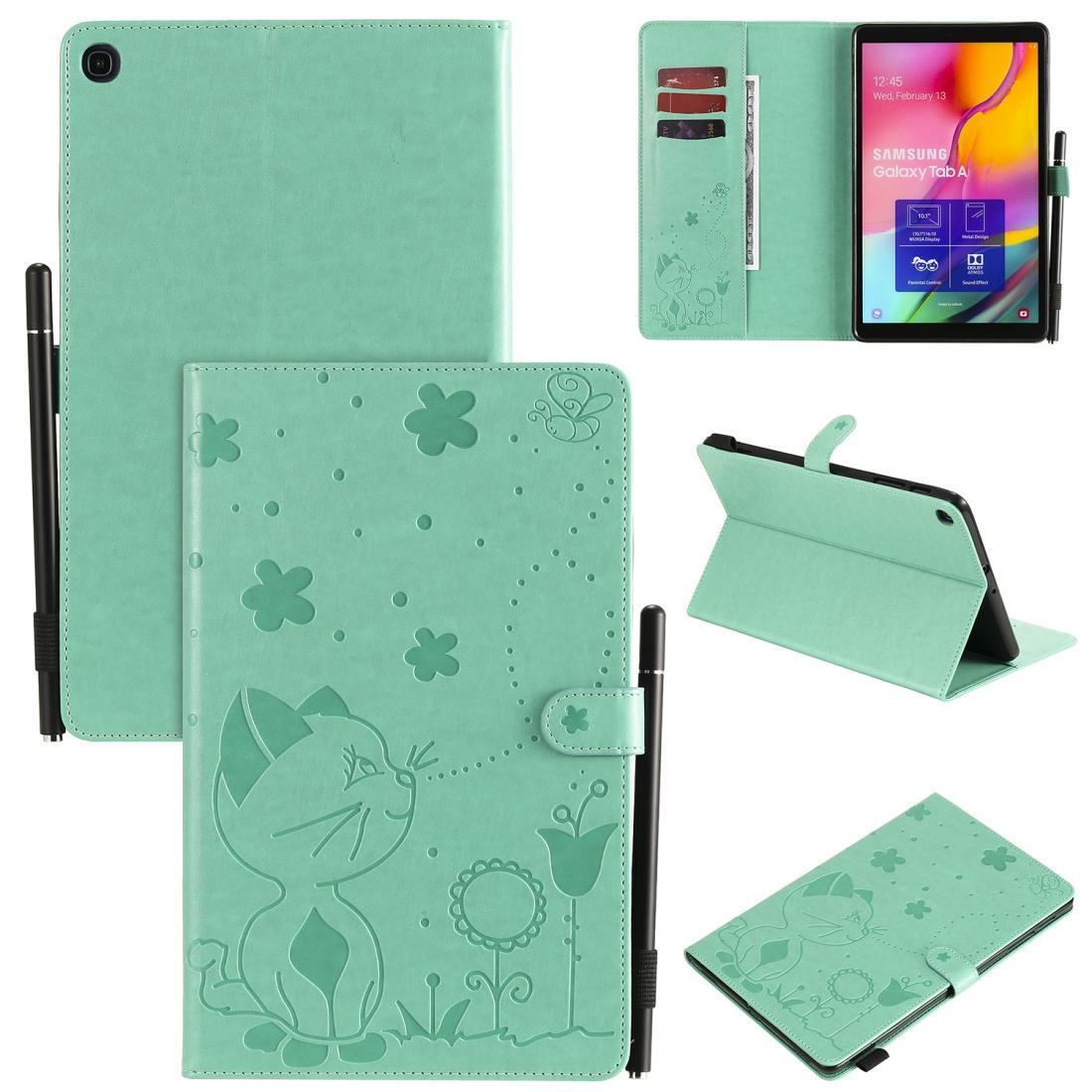 For Samsung Galaxy Tab A9.7 T550 Cat Bee Embossing Pattern Shockproof Table PC Protective Horizontal Flip Leather Case with Holder & Card Sl