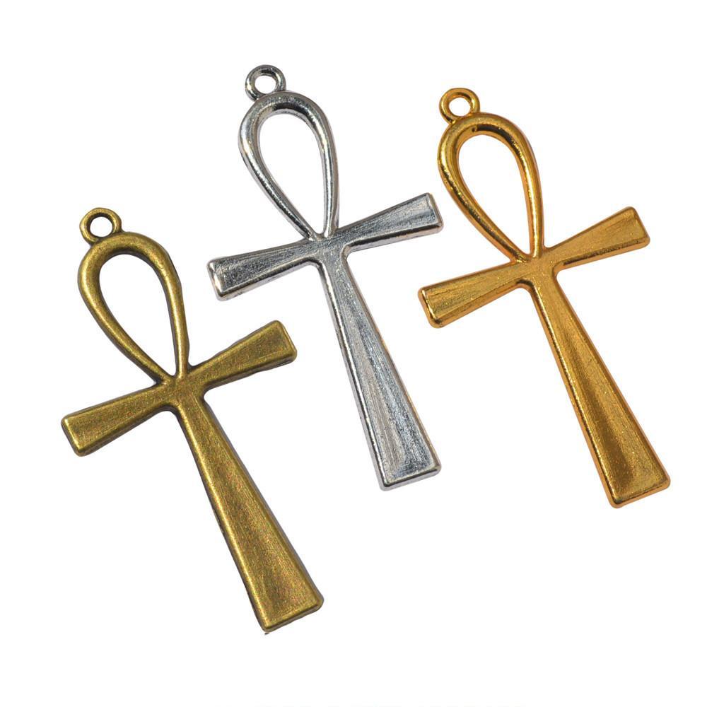 30pcs 55 * 29 millimetri del bronzo dell'annata colore d'argento antico egiziano ankh simbolo vita ciondolo fascino trasversale per il braccialetto orecchino gioielli fai da te