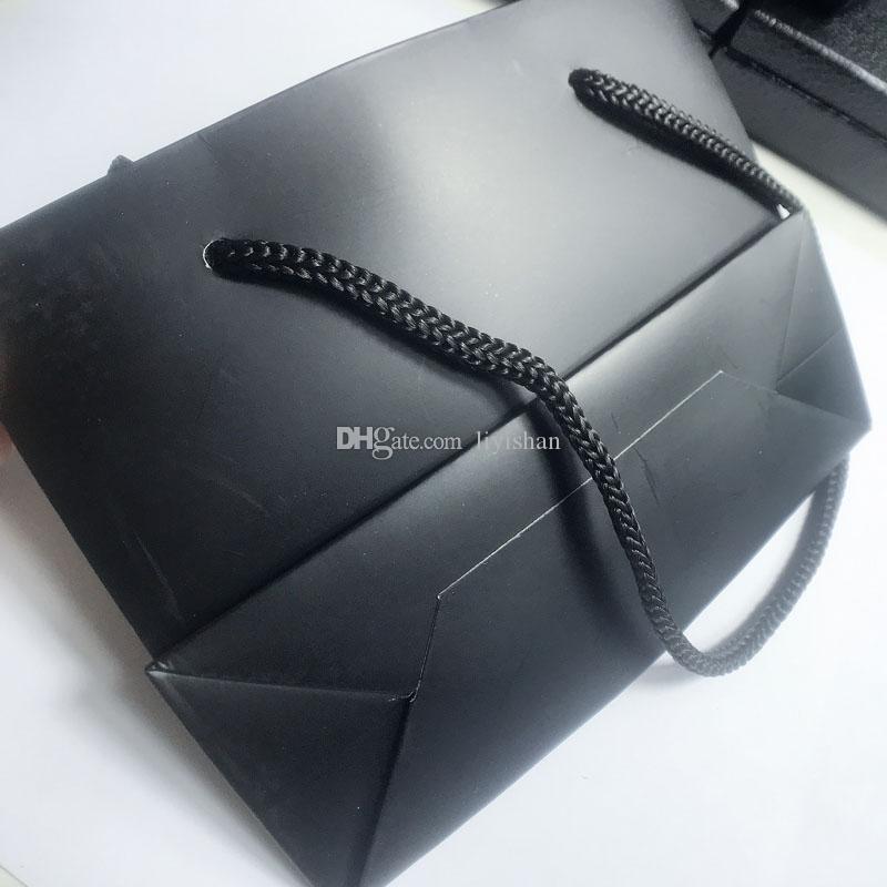 14cm de lujo Negro bolsos del embalaje del regalo de la joyería C Embalaje Bolsas de almacenamiento Caja de joyería para los ornamentos accesorios del pelo regalo Packin 10PCS / LOT SamCC