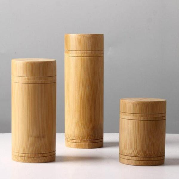Bambu Depolama Şişeler Kavanozlar Ahşap Küçük Kutu Konteynerleri El yapımı için Baharatlar Çay Kahve Şeker Kapak Vintage ile al