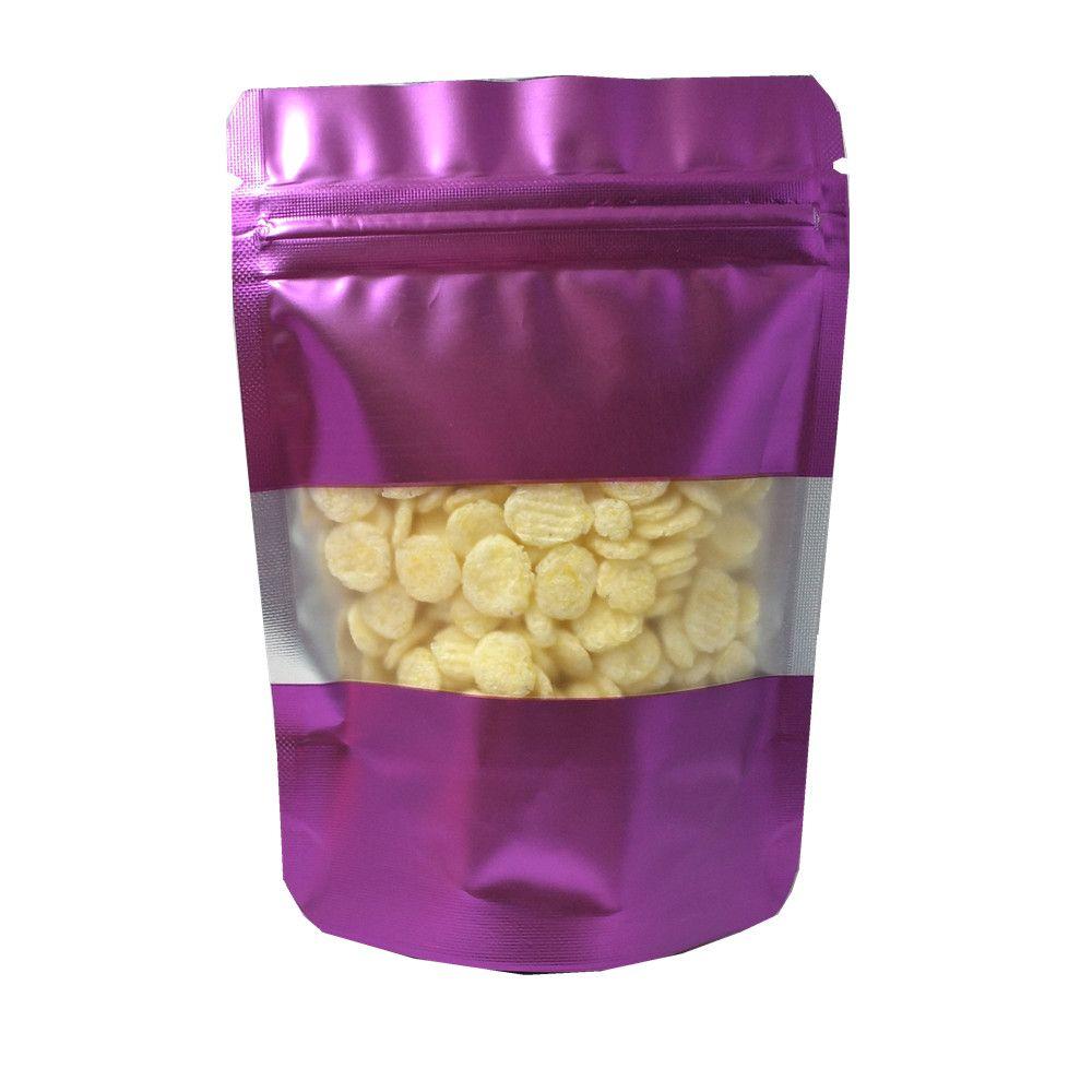 100 unids / lot Multi-tampoco Soporte Bolsas de aluminio Paquete de alimentos Cerradura con cremallera Flower Tea Snack Bolsa de embalaje Bolsa de aluminio Bolsa de aluminio, Púrpura