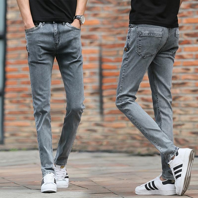 nNejJ четыре стройных мужчины толчок дымчатых серые и брюки и джинсы стрейч джинсы основные корейские сезоны подходят для вертикальных мужских брюк