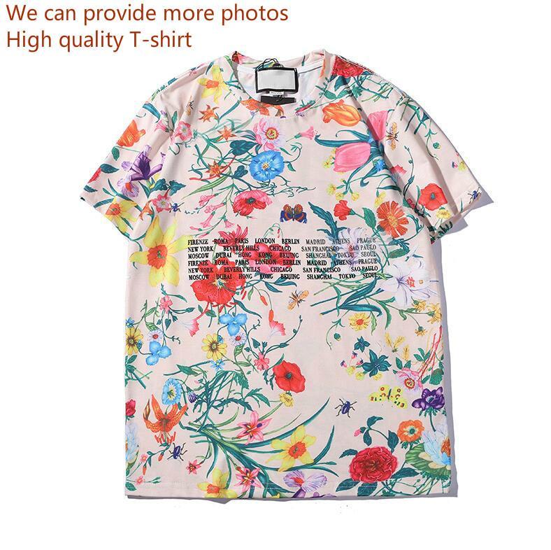 Лето женщин тенниски тенниски с буквами дышащий с коротким рукавом Пара Верхушки с цветами футболках Оптовая
