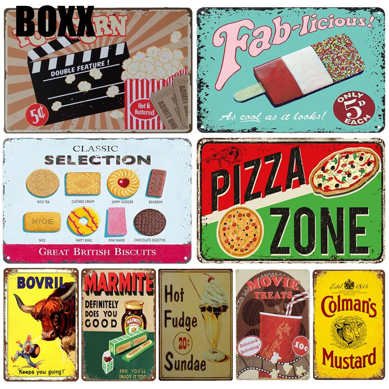 BBQ PIZZA PIE Metal Signs Vintage Kitchen Sweet Home Decor Retro Cake Tin Sign FOOD Poster Restaurant Living Room Wall Stickers