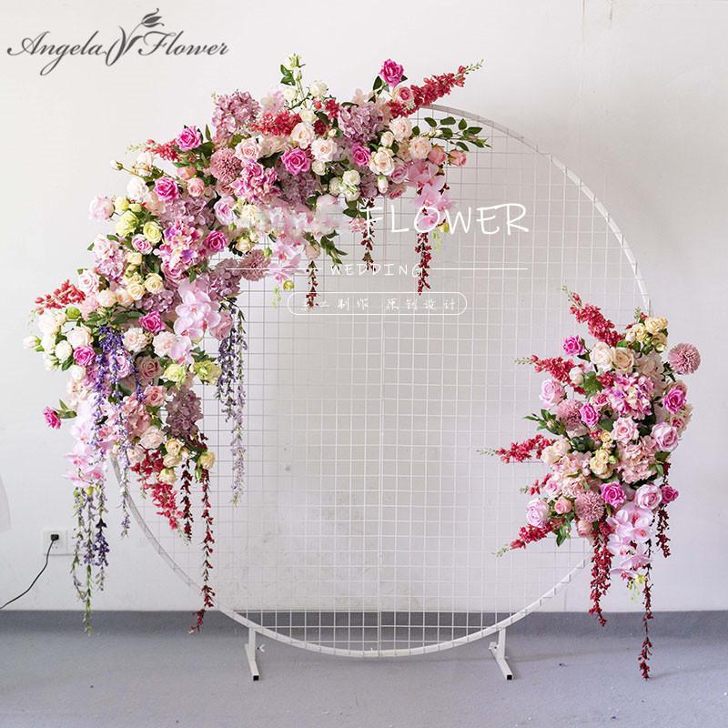 Custom European wedding arch decor artificial flower wrought iron wedding props fake flower row background wall