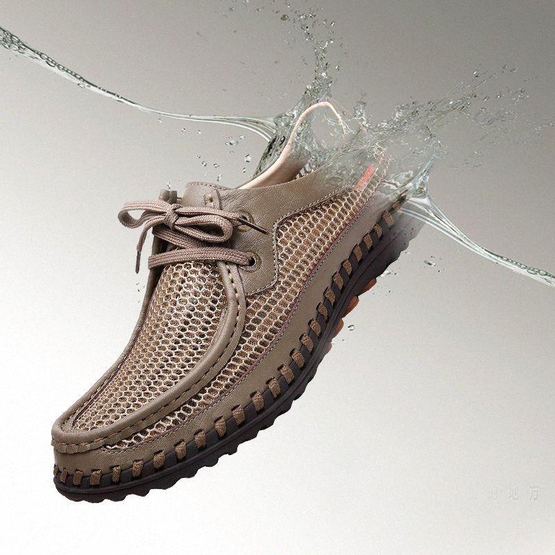 New Verão confortáveis sapatos casuais preguiçosos Homens sapatos de qualidade Couro Homens Flats Mocassins respirável W5 38aw #