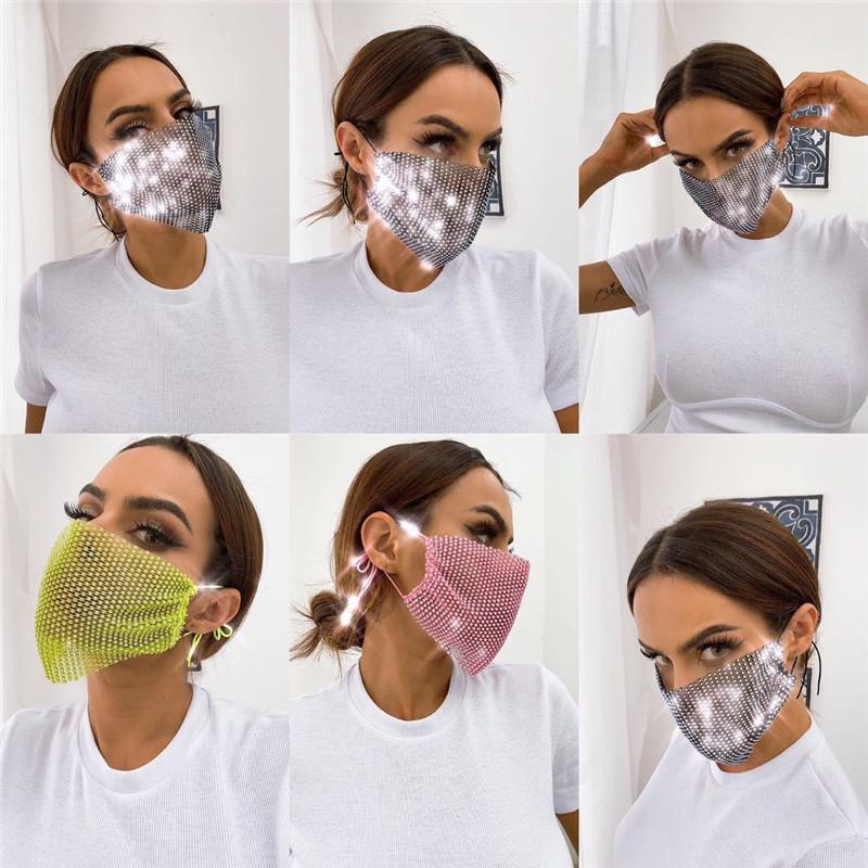 Maschera di diamante lucido crystal designer viso maschera di lusso viso maschera squisita maschere colorate colorate moda donne maschere per la bocca
