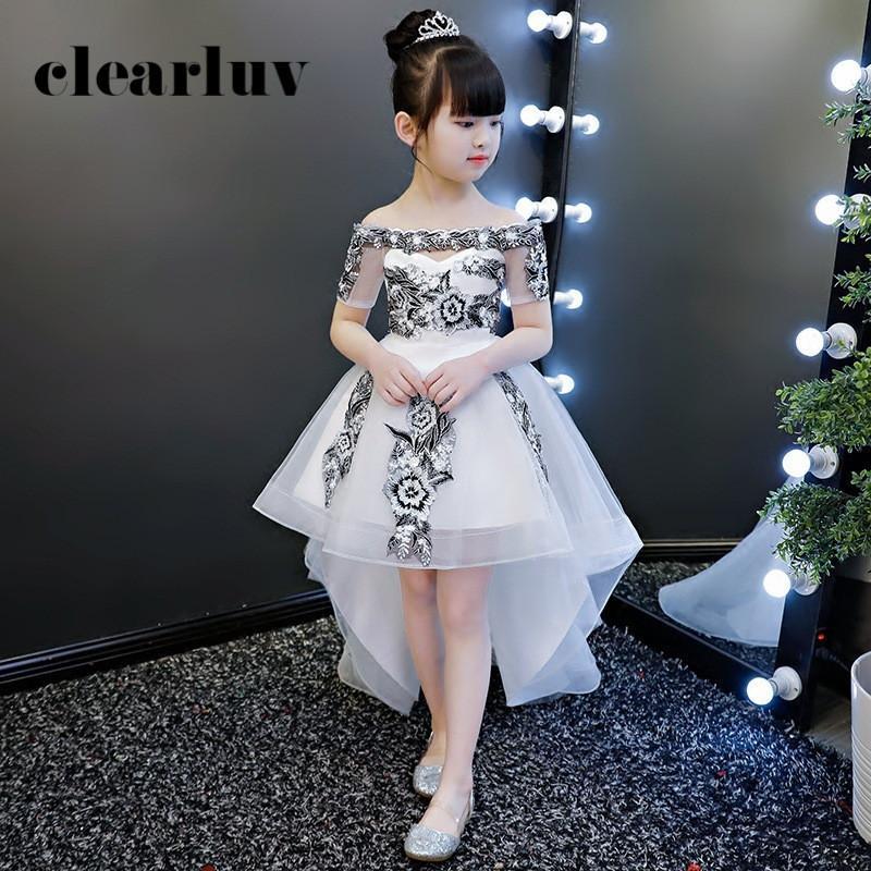 Тюль девушки принцессы платье B066 белый с плеча девушки цветка для свадьбы Boat Neck Kids Party причастия Gowns