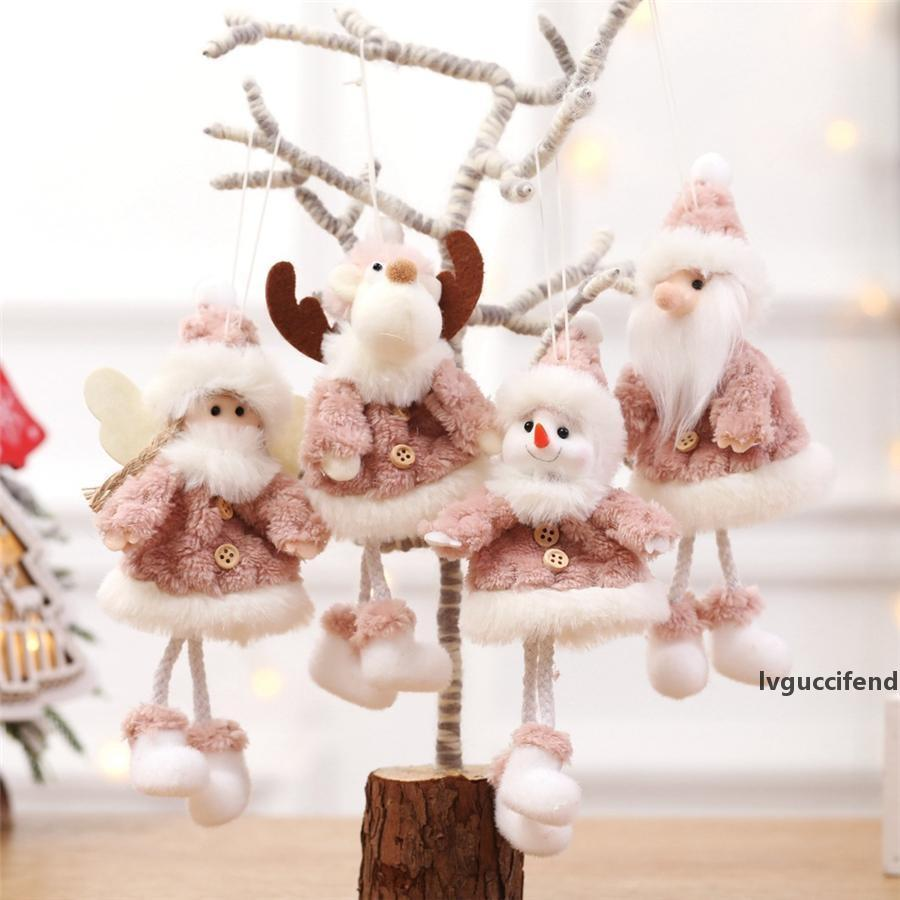 Wooden Xmas Christmas Tree Angel Elk Santa Claus Pendant Kids Gift Hanging Decor