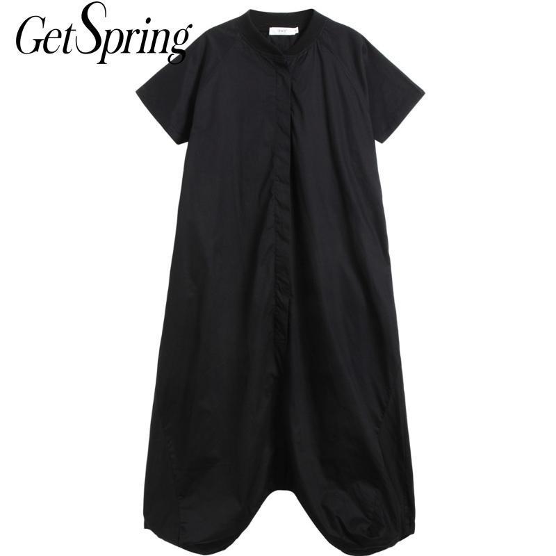 Getspring Mulheres Jumpsuit algodão de manga curta longas macacãozinho Womens Jumpsuit lazer roupa preta Mulher do vintage 2020 de Moda de Nova
