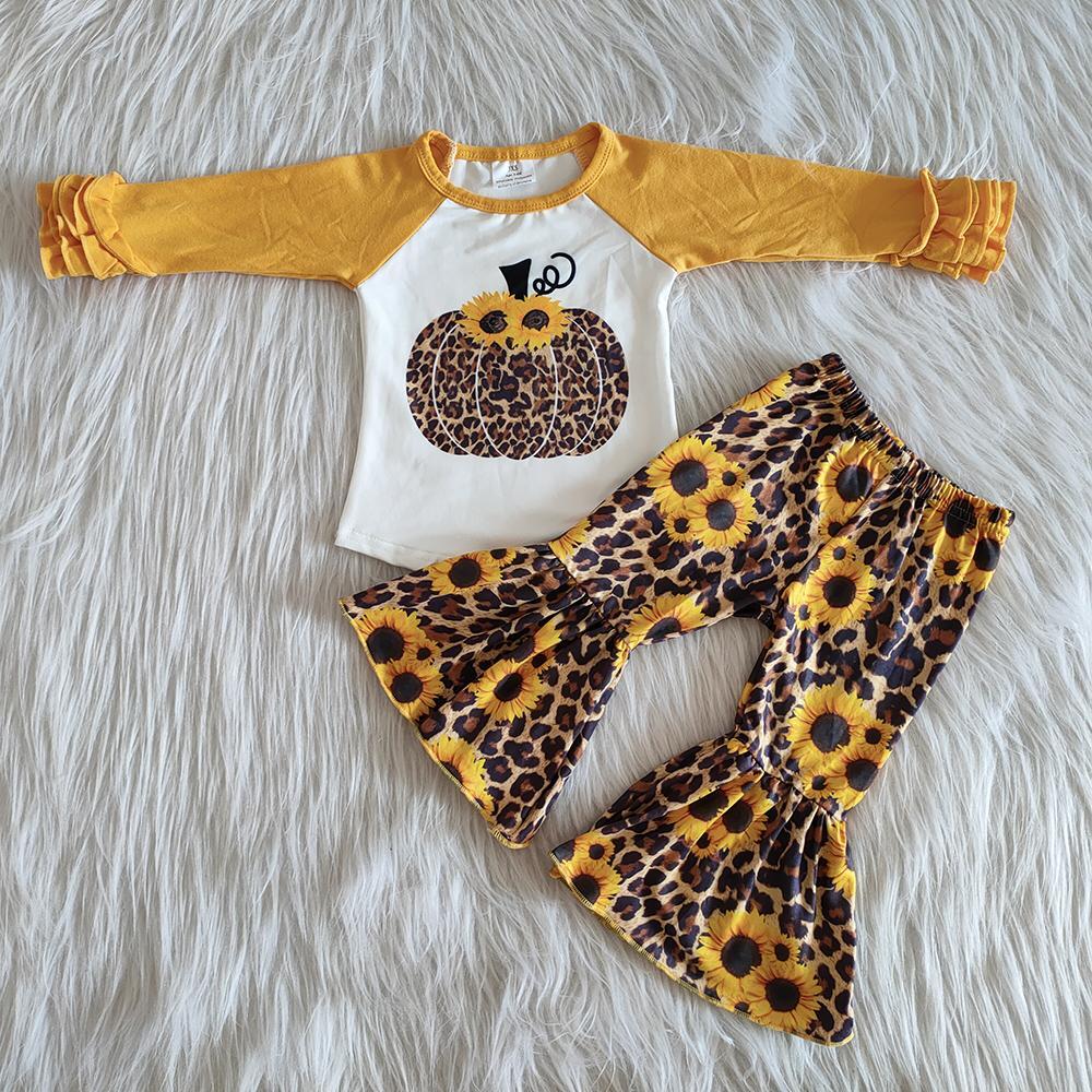 мода осени ребенок девушка одежда наборы горячей продажи девочка бутик клеш костюмы тыква подсолнечник падают наряды детей дизайнер одежды девочек