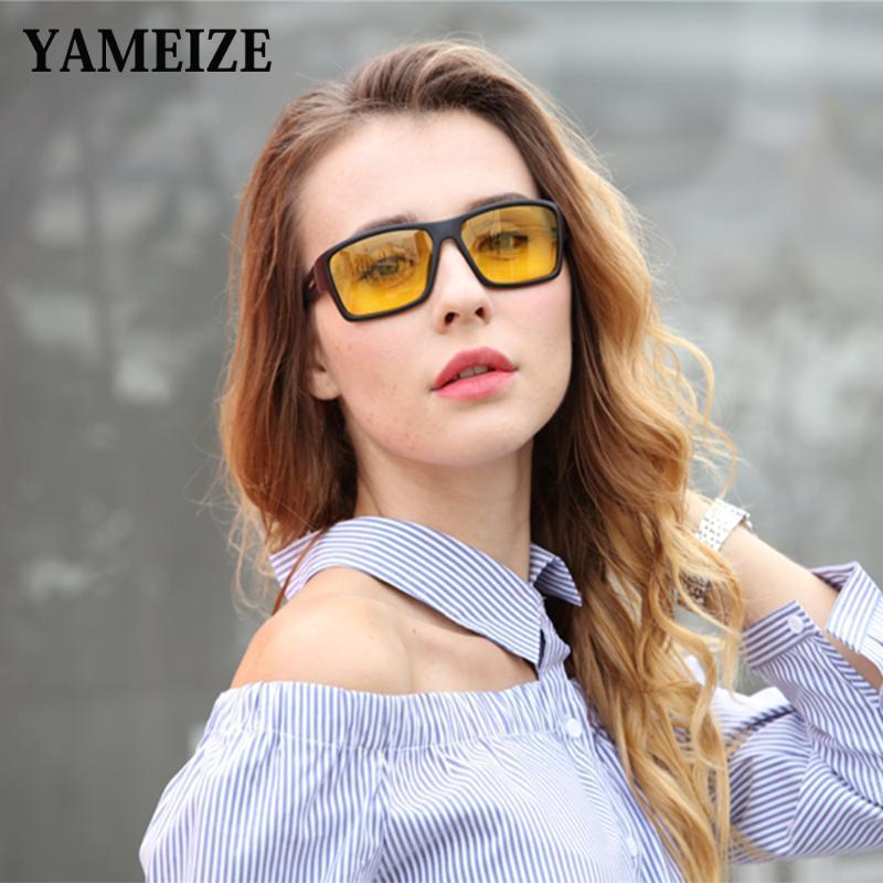 YAMEIZE 사각형 나이트 비전 안경 남여 노란색 렌즈 안티 눈부심 비전 야간 운전 안경 안전 보호