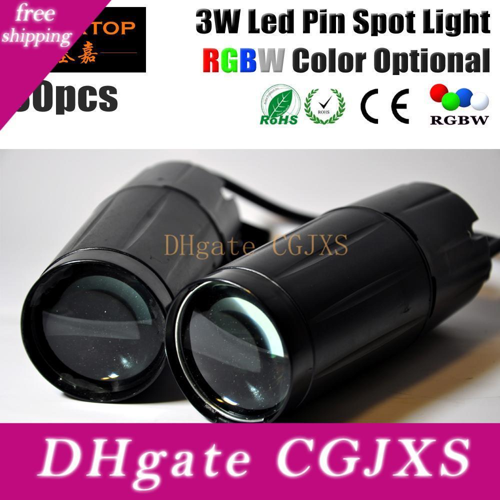 Freeshipping 30xlot Tiptop Led Pinspot 3w Light System Rgbw Color Led Powered Pin Spot Metal Housing 12 -Degree Beam Angle No Noise 90v -240