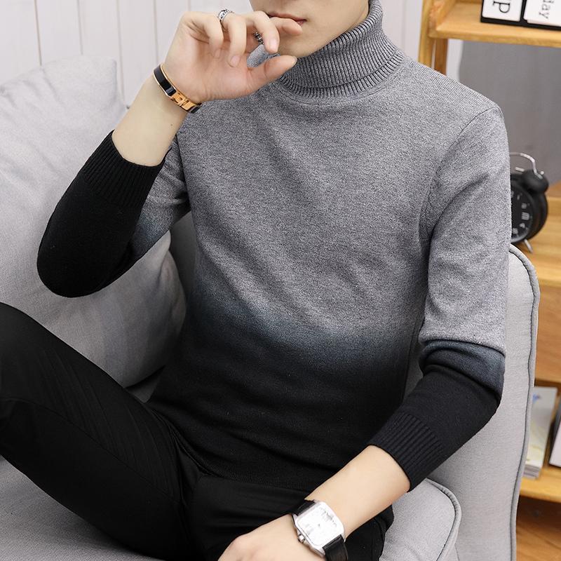2019 осень зима новый мужской свитер сплошного цвета Вязаный пуловер Свитера Мужской Повседневный High Neck трикотаж Топы S-3XL MX200711