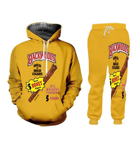 New Men/Womens Backwoods Funny 3D Print Fashion Tracksuits Crewneck Hip Hop Hoodies + Pants AA0222