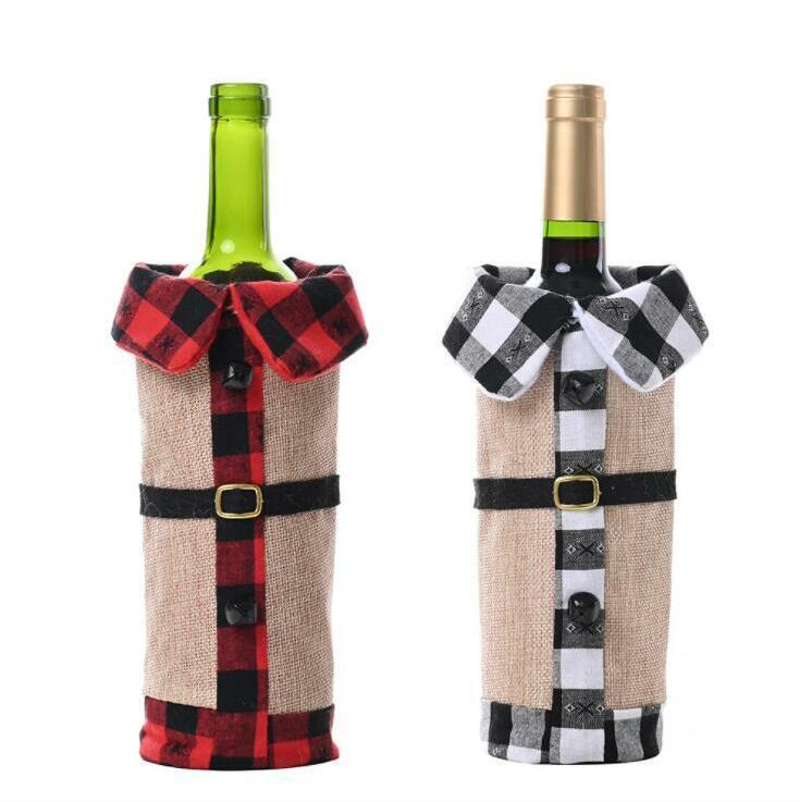 زجاجة نسيج مربع تغطية أكياس النبيذ الكتان عيد الميلاد التلبيب النبيذ الاحمر غطاء زجاجة النبيذ زينة عيد الميلاد مجموعات عشاء حزب الجدول ديكور ALSK327