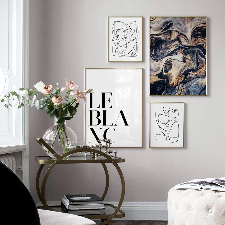 Abstrakte flüssigkeit art line figur zitate wandkunst leinwand malerei nordic poster und druckt wandbilder für wohnzimmer dekor
