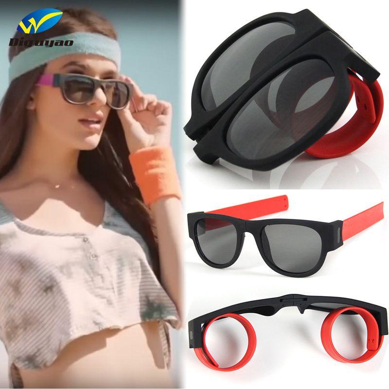 2020 Новый мини Складные солнцезащитные очки Женщины Мужчины Прохладный Модные Открытый Спорт пощечину Солнцезащитные очки UV400 Черный браслет óculos UV400
