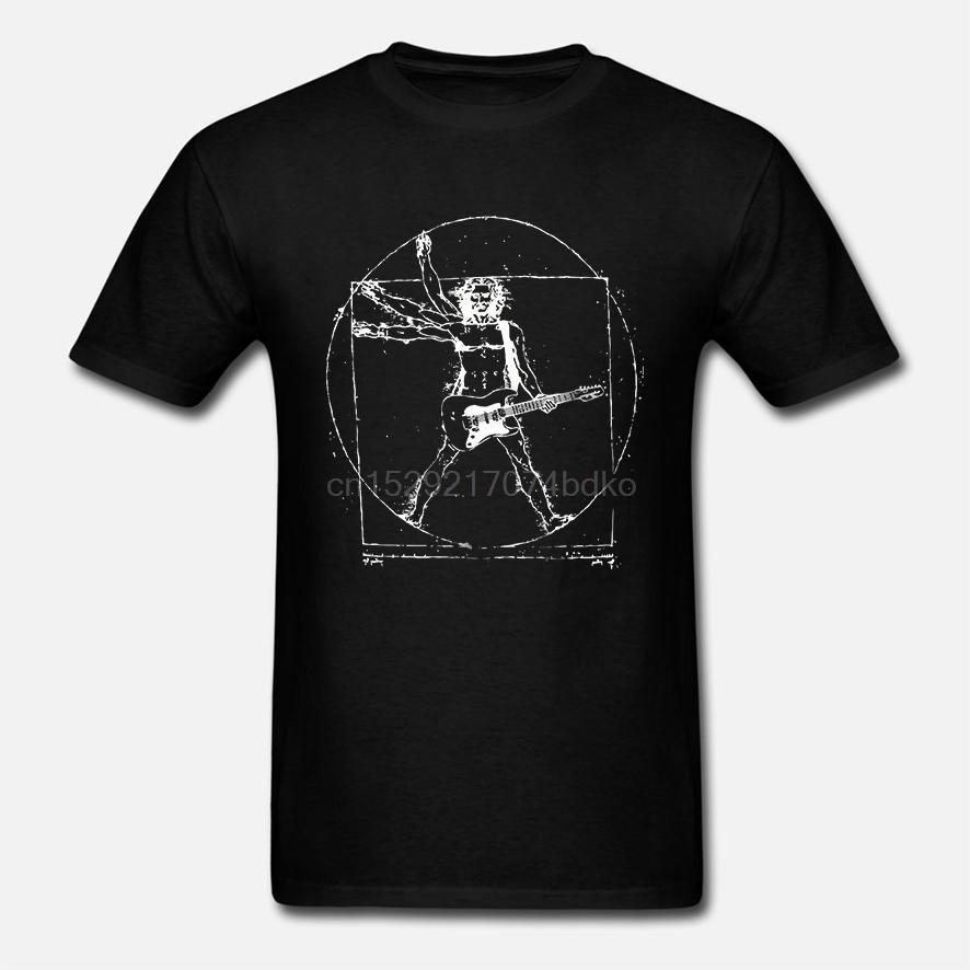 Os mais recentes Mens engraçado T Shirt Da Vinci Rocha Homo VitruvianusT-shirt do metal pesado Uomo vitruviano banda camisetas